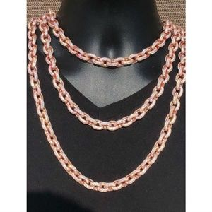 Harlembling Rose Gold Silver Diamond Rolo Chain